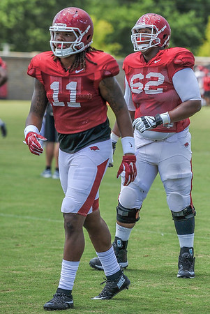 Will Gragg (11) and Johnny Gibson (62) at the Razorback Football practice on Thursday, August 13, 2015 at the Fred W. Smith Football Center in Fayetteville, Arkansas.   (Alan Jamison, Nate Allen Sports Service).