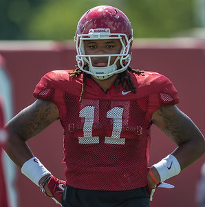 Will Gragg (11) during the Razorback Football practice on Tuesday, August 11, 2015 at the Fred W. Smith Football Center in Fayetteville, Arkansas.   (Alan Jamison, Nate Allen Sports Service).