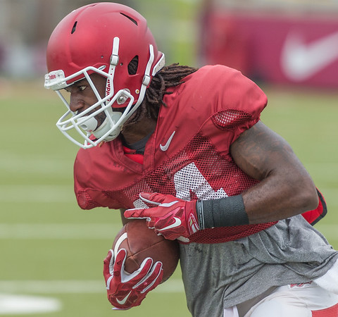 Eric Hawkins at the Razorback football practice on Tuesday, August 18, 2015 at the Fred W. Smith Football Center in Fayetteville, Arkansas.   (Alan Jamison, Nate Allen Sports Service).