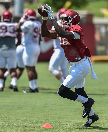 Wide receiver La'Michael Pettway (16) at Razorback Football practice on Saturday, August 8, 2015 at the Fred W. Smith Football Center in Fayetteville, Arkansas.   (Alan Jamison, Nate Allen Sports Service).