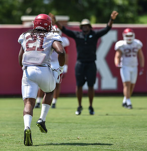 Linebacker Josh Williams (21) at Razorback Football practice on Saturday, August 8, 2015 at the Fred W. Smith Football Center in Fayetteville, Arkansas.   (Alan Jamison, Nate Allen Sports Service).