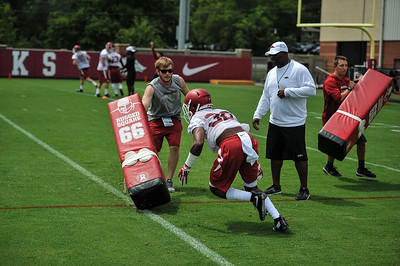 Razorback Football practice on Thursday, August 6, 2015 at the Fred W. Smith Football Center in Fayetteville, Arkansas.   Photos by Alan Jamison.