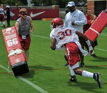 Kevin Richardson during the first Fall Razorback Football practice on Thursday, August 6, 2015 at the Fred W. Smith Football Center in Fayetteville, Arkansas.   Photos by Alan Jamison.