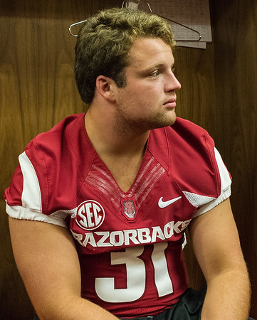 Connor McPherson at the Razorback Media Day on Sunday, August 9, 2015 at the Fred W. Smith Football Center in Fayetteville, Arkansas.   (Alan Jamison, Nate Allen Sports Service).