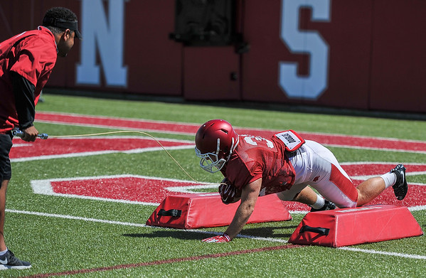 Connor McPherson at the Razorback football practice on Thursday, August 20, 2015 at the Fred W. Smith Football Center in Fayetteville, Arkansas.   (Alan Jamison, Nate Allen Sports Service).
