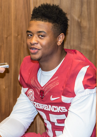 Dwayne Eugene at the Razorback Media Day on Sunday, August 9, 2015 at the Fred W. Smith Football Center in Fayetteville, Arkansas.   (Alan Jamison, Nate Allen Sports Service).