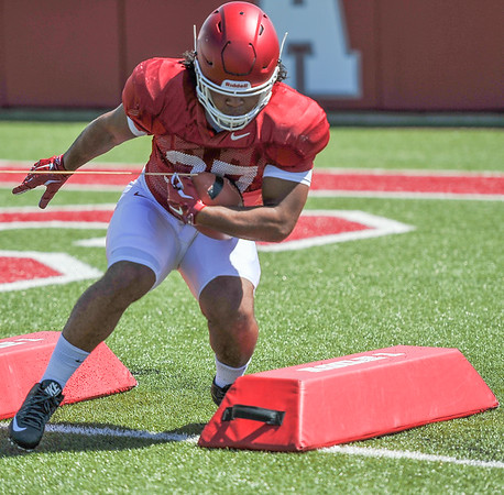 Damani Carter during the Razorback football practice on Thursday, August 20, 2015 at the Fred W. Smith Football Center in Fayetteville, Arkansas.   (Alan Jamison, Nate Allen Sports Service).