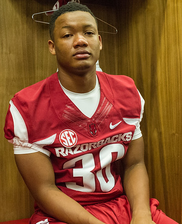 Byron Keaton at the Razorback Media Day on Sunday, August 9, 2015 at the Fred W. Smith Football Center in Fayetteville, Arkansas.   (Alan Jamison, Nate Allen Sports Service).