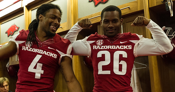Keon Hatcher (4) and Rohan Gaines (26) at the Razorback Media Day on Sunday, August 9, 2015 at the Fred W. Smith Football Center in Fayetteville, Arkansas.   (Alan Jamison, Nate Allen Sports Service).