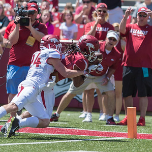 Defensive Back Ryder Lucas attempts to keep Wide Receiver Keon Hatcher from scoring during the Arkansas Red-White Spring Football Game on Saturday, April 25, 2015 in Fayetteville, Arkansas at Donald W. Reynolds Razorback Stadium.  The Red team won 62-18 in front of an official attendance of 41,220 fans.   (Alan Jamison, Nate Allen Sports Service)