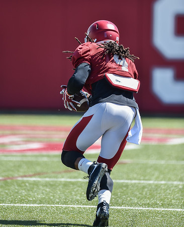 Keon Hatcher is off to the goal line at the Razorback football practice on Thursday, August 20, 2015 at the Fred W. Smith Football Center in Fayetteville, Arkansas.   (Alan Jamison, Nate Allen Sports Service).