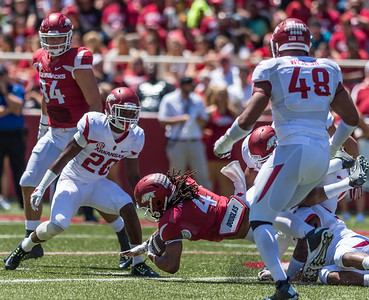 Senior Wide Receiver Keon Hatcher makes a catch during the Arkansas Red-White Spring Football Game on Saturday, April 25, 2015 in Fayetteville, Arkansas at Donald W. Reynolds Razorback Stadium.  The Red team won 62-18 in front of an official attendance of 41,220 fans.   (Alan Jamison, Nate Allen Sports Service)