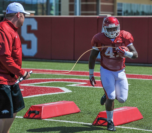 Chris Jones during the Razorback football practice on Thursday, August 20, 2015 at the Fred W. Smith Football Center in Fayetteville, Arkansas.   (Alan Jamison, Nate Allen Sports Service).