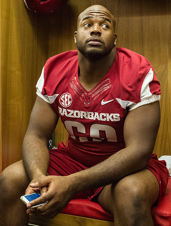 Cordale Boyd at the Razorback Media Day on Sunday, August 9, 2015 at the Fred W. Smith Football Center in Fayetteville, Arkansas.   (Alan Jamison, Nate Allen Sports Service).