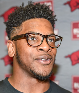 Josh Harris meets with media after the Razorback football practice on Friday, August 21, 2015 at the Fred W. Smith Football Center in Fayetteville, Arkansas.   (Alan Jamison, Nate Allen Sports Service).