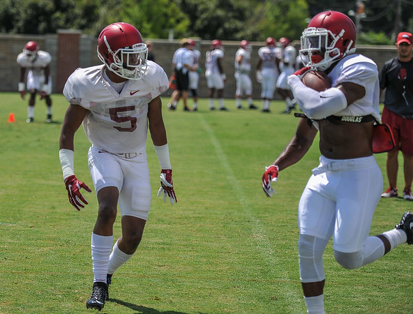 Defensive back Henre' Toliver (5) Razorback Football practice on Saturday, August 8, 2015 at the Fred W. Smith Football Center in Fayetteville, Arkansas.   (Alan Jamison, Nate Allen Sports Service).