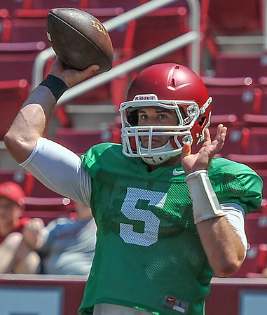 Ty Storey at the Razorback Football practice on Saturday, August 15, 2015 at Reynolds Razorback Stadium in Fayetteville, Arkansas.   (Alan Jamison, Nate Allen Sports Service).