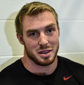 Brooks Ellis meets with media after the Razorback football practice on Friday, August 21, 2015 at the Fred W. Smith Football Center in Fayetteville, Arkansas.   (Alan Jamison, Nate Allen Sports Service).