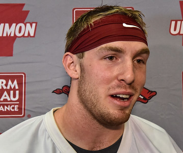 Brooks Ellis at a Razorback Football press conference on Friday, August 7, 2015 at the Fred W. Smith Football Center in Fayetteville, Arkansas.   Photos by Alan Jamison.