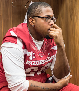 Brian Wallace at the Razorback Media Day on Sunday, August 9, 2015 at the Fred W. Smith Football Center in Fayetteville, Arkansas.   (Alan Jamison, Nate Allen Sports Service).