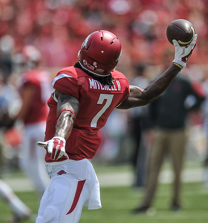Damon Mitchell catches a pass during the pre-game practice before a football game between the Arkansas Razorbacks and the UTEP Miners on Saturday, September 5, 2015 at the  Donald W. Reynolds Razorback Stadium in Fayetteville, Arkansas.  Arkansas won the game 48-13.  (Alan Jamison, Nate Allen Sports Service).