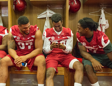 Razorback Media Day on Sunday, August 9, 2015 at the Fred W. Smith Football Center in Fayetteville, Arkansas.   (Alan Jamison, Nate Allen Sports Service).