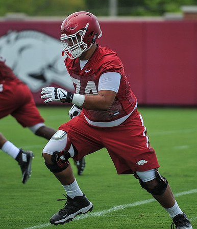 Colton Jackson during the first  Fall Razorback Football practice on Thursday, August 6, 2015 at the Fred W. Smith Football Center in Fayetteville, Arkansas.   Photos by Alan Jamison.