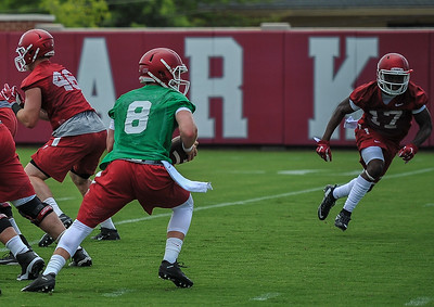 Austin Allen  during the first  Fall Razorback Football practice on Thursday, August 6, 2015 at the Fred W. Smith Football Center in Fayetteville, Arkansas.   Photos by Alan Jamison.