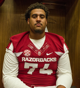 Colton Jackson in the Locker Room at the Razorback Media Day on Sunday, August 9, 2015 at the Fred W. Smith Football Center in Fayetteville, Arkansas.   (Alan Jamison, Nate Allen Sports Service).