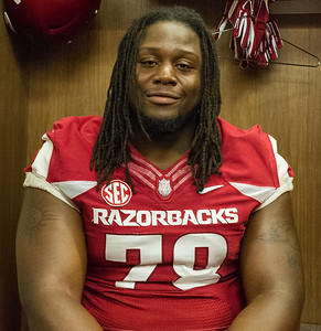 Bijhon Jackson at the Razorback Media Day on Sunday, August 9, 2015 at the Fred W. Smith Football Center in Fayetteville, Arkansas.   (Alan Jamison, Nate Allen Sports Service).
