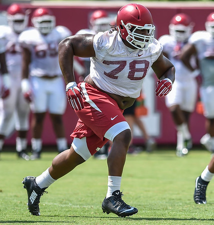 Defensive lineman Bijhon Jackson (78) at Razorback Football practice on Saturday, August 8, 2015 at the Fred W. Smith Football Center in Fayetteville, Arkansas.   (Alan Jamison, Nate Allen Sports Service).