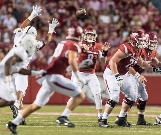 Arkansas Razorbacks quarterback Austin Allen (8) passes to Drew Morgan (80) during a football game between the Arkansas Razorbacks and the Texas State Bobcats on Saturday, September 17, 2016.  (Alan Jamison, Nate Allen Sports Service)