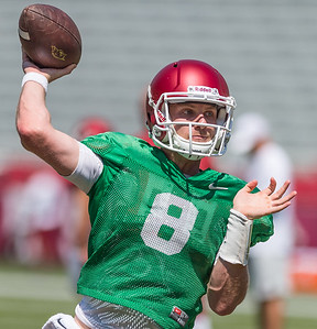 Austin Allen at the Razorback Football practice on Saturday, August 15, 2015 at Reynolds Razorback Stadium in Fayetteville, Arkansas.   (Alan Jamison, Nate Allen Sports Service).