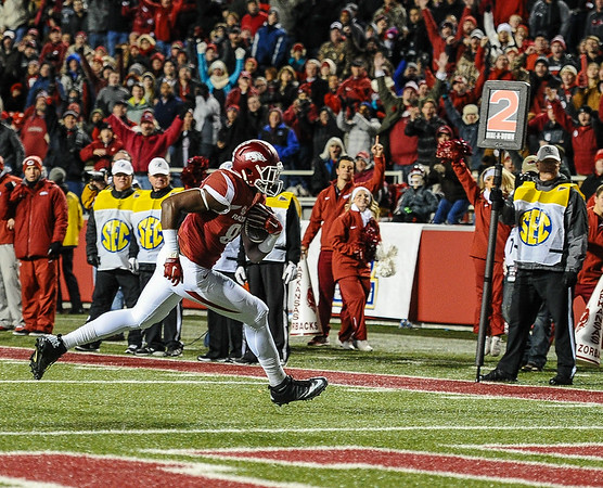 Arkansas Razorbacks tight end Jeremy Sprinkle (83) scores on a passing play during a football game between Arkansas and Mississippi State on November 21, 2015.    (Alan Jamison, Nate Allen Sports Service)