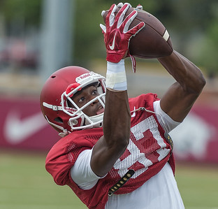 Dominique Reed at the Razorback football practice on Tuesday, August 18, 2015 at the Fred W. Smith Football Center in Fayetteville, Arkansas.   (Alan Jamison, Nate Allen Sports Service).