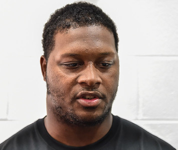 Taiwan Johnson meets with media after the Razorback football practice on Friday, August 21, 2015 at the Fred W. Smith Football Center in Fayetteville, Arkansas.   (Alan Jamison, Nate Allen Sports Service).