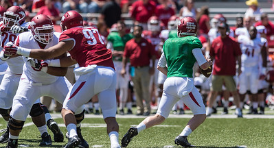 Defensive End Tevin Beanum blocks during the Arkansas Red-White Spring Football Game on Saturday, April 25, 2015 in Fayetteville, Arkansas at Donald W. Reynolds Razorback Stadium.  The Red team won 62-18 in front of an official attendance of 41,220 fans.   (Alan Jamison, Nate Allen Sports Service)