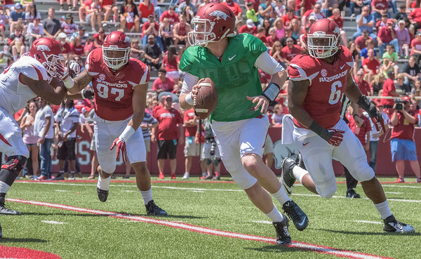 Sophomore Defensive End Tevin Beanum hurries the play during the Arkansas Red-White Spring Football Game on Saturday, April 25, 2015 in Fayetteville, Arkansas at Donald W. Reynolds Razorback Stadium.  The Red team won 62-18 in front of an official attendance of 41,220 fans.   (Alan Jamison, Nate Allen Sports Service)