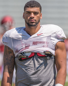 Tevin Beanum at the Razorback Football practice on Saturday, August 15, 2015 at Reynolds Razorback Stadium in Fayetteville, Arkansas.   (Alan Jamison, Nate Allen Sports Service).