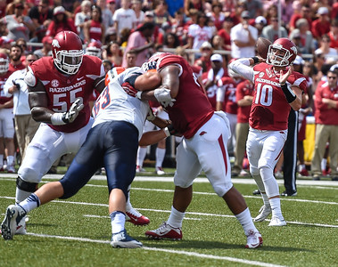 Arkansas Razorbacks quarterback Brandon Allen (10) passes during a football game between the Arkansas Razorbacks and the UTEP Miners on Saturday, September 5, 2015 at the  Donald W. Reynolds Razorback Stadium in Fayetteville, Arkansas.  Arkansas won the game 48-13.  (Alan Jamison, Nate Allen Sports Service).