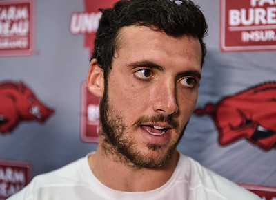 Brandon Allen meets with media after the Razorback football practice on Thursday, August 20, 2015 at the Fred W. Smith Football Center in Fayetteville, Arkansas.   (Alan Jamison, Nate Allen Sports Service).