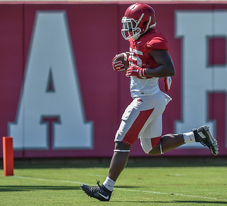 Denzell  Evans crosses the goal line at the Razorback football practice on Thursday, August 20, 2015 at the Fred W. Smith Football Center in Fayetteville, Arkansas.   (Alan Jamison, Nate Allen Sports Service).