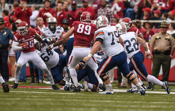 Rohan Gaines with an interception during a football game between the Arkansas Razorbacks and the UT Martin Skyhawks in Reynolds Razorback Stadium on October 31, 2015.   Arkansas led 35-14 at the half (Alan Jamison, Nate Allen Sports Service)