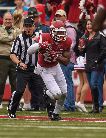 Rohan Gaines (26) returns an interception during a football game between the Arkansas Razorbacks and the UT Martin Skyhawks in Reynolds Razorback Stadium on October 31, 2015.   Arkansas led 35-14 at the half (Alan Jamison, Nate Allen Sports Service)