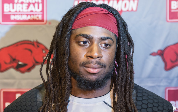 Alex Collins meets media during the Razorback football press conference on 9-2-2015 in the Fred W. Smith Football Complex media room.  (Alan Jamison, Nate Allen Sports Service).