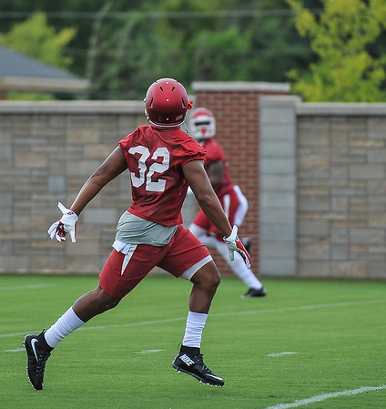 Jonathan Williams during the first Fall Razorback Football practice on Thursday, August 6, 2015 at the Fred W. Smith Football Center in Fayetteville, Arkansas.   Photos by Alan Jamison.