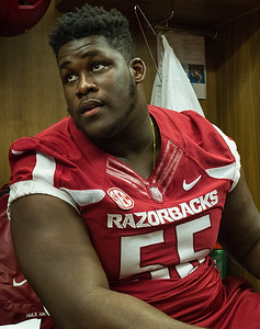 Denver Kirkland at the Razorback Media Day on Sunday, August 9, 2015 at the Fred W. Smith Football Center in Fayetteville, Arkansas.   (Alan Jamison, Nate Allen Sports Service).