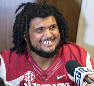 Sebastian Tretola at the Razorback Media Day on Sunday, August 9, 2015 at the Fred W. Smith Football Center in Fayetteville, Arkansas.   (Alan Jamison, Nate Allen Sports Service).
