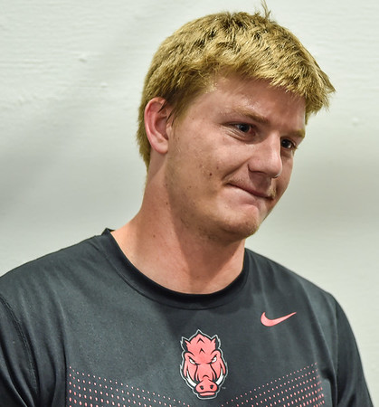 Mitchell Loewen meets with media after the Razorback football practice on Friday, August 21, 2015 at the Fred W. Smith Football Center in Fayetteville, Arkansas.   (Alan Jamison, Nate Allen Sports Service).