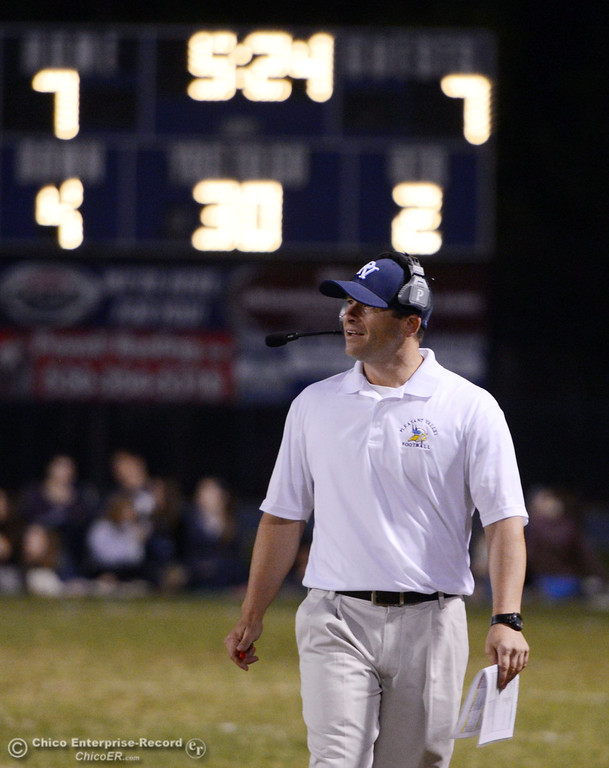 . Pleasant Valley High\'s coach Mark Cooley looks on against Foothill High in the second quarter of their football game at PVHS Asgard Yard Friday, October 11, 2013 in Chico, Calif.  (Jason Halley/Chico Enterprise-Record)
